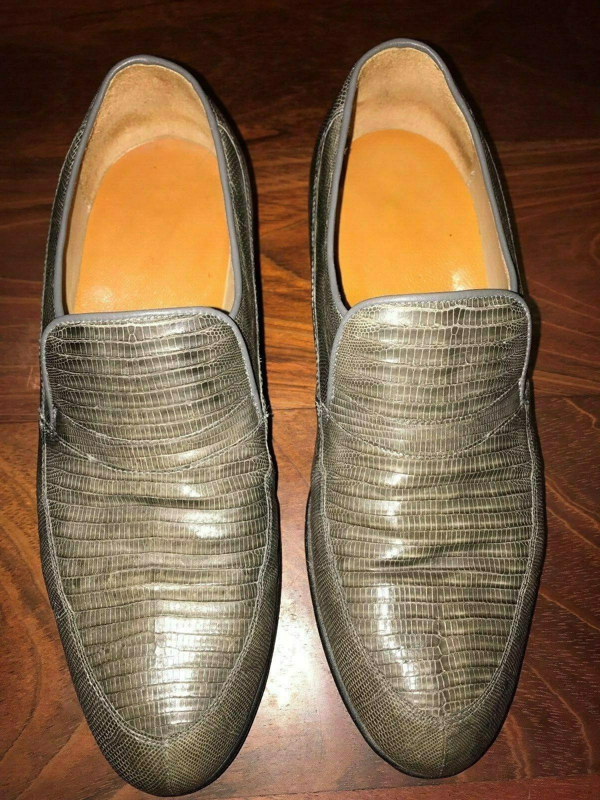 Genuine Lizard Skin Loafers, Grey, Men's size 6 ½ (US).