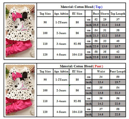 Toddler Kids Baby Girl Infant Clothes T-shirt Top Pants Ruffle Minnie Outfit Set