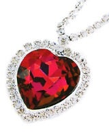 Titanic Ruby Red Heart & Crystal Necklace Large Pendant Heart Of The Ocean