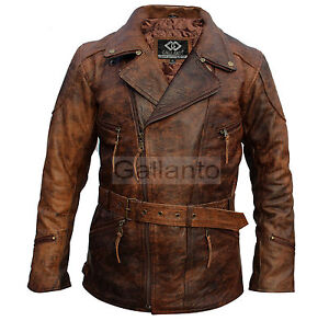 Eddie Mens 3 4 Motorcycle Biker Brown Distressed Vintage