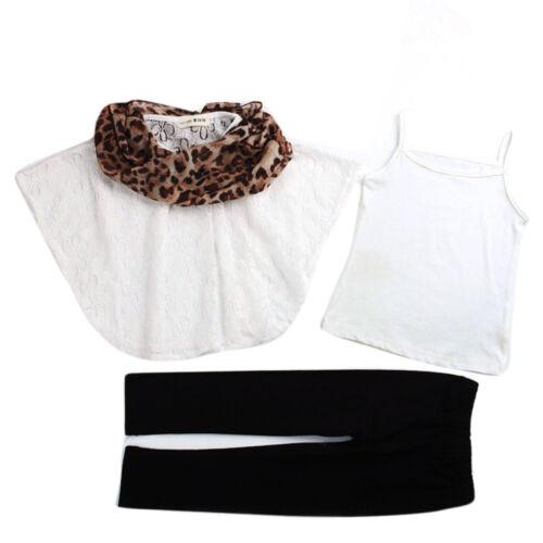 Fashion Toddler Girls Vest Lace Bat Shirt Pant Leopard Scarf Clothes Outfit Set