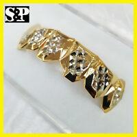 14k Gold Plating Custom Grillz Bling Diamond Cut Two Tone Upper Top Teeth