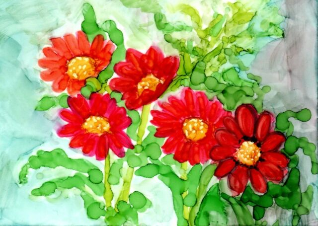 ACEO Gerbera Daisies Red & Yellow Alcohol Ink Art Painting by Penny Lee StewArt