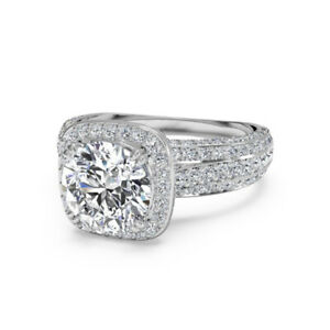 1.35 Ct Round Solitaire Moissanite Engagement Ring 18K Solid White Gold Size 4