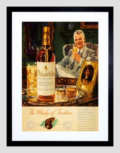 ADVERT DRINK ALCOHOL AMERICAN WHISKY PHILADELPHIA USA FRAMED ART PRINT B12X10275