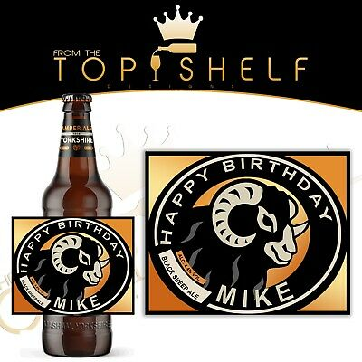 occasion Personalised Black Sheep Ale beer bottle label any name