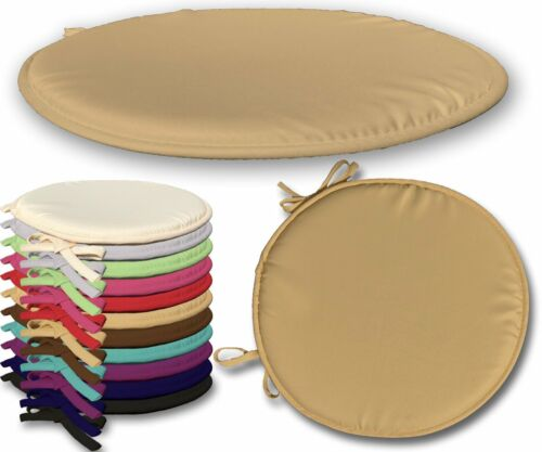 Pack of 2 Round Latte Seat Pad for Kitchen Chair Garden Chair Patio with Tie-On