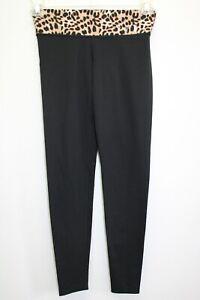 Victoria-039-s-Secret-PINK-Leopard-Roll-Waist-Yoga-Pants-Leggings-Size-XS-Black