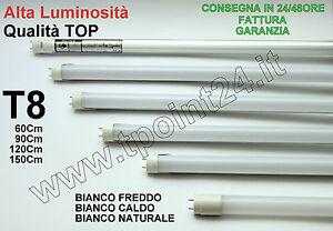 TUBO NEON LED T8 60-90-120-150 CM 6000K 4500K 3000K LUCE FREDDA/CALDA/NATURALE