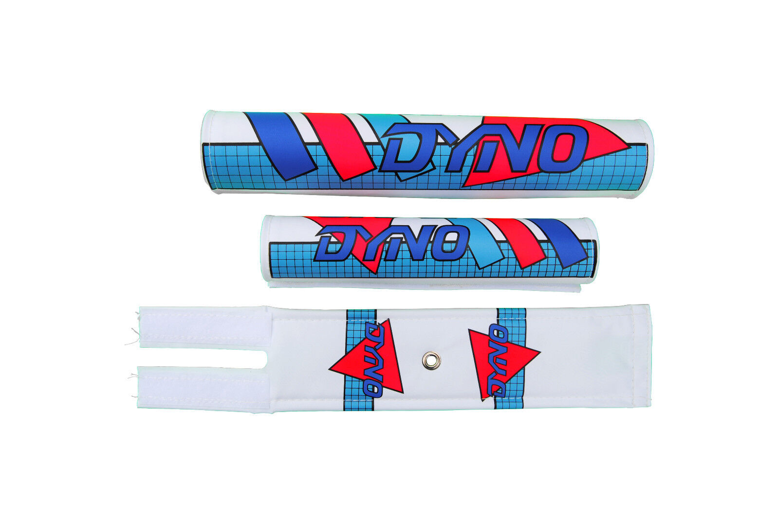 DYNO old school BMX padset pads - GRID - blueeE CYAN DAYGLO RED MADE IN USA