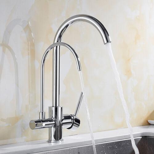 LA JEFA Deck Mount Chrome Brass Purified Kitchen Faucet 3 Way Kitchen Faucet