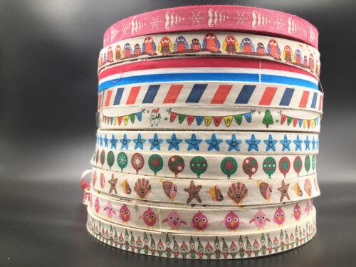 15mm cinta de algodón estampado a mano 5//10yd Regalo Presente paquete Hágalo usted mismo Arte de Costura