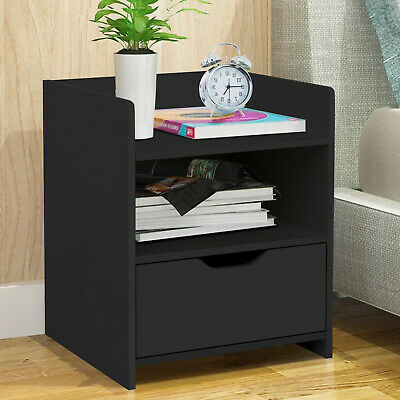 Details about  Nightstand Bedroom Bedside Table Storage Furniture Night Stand Cabinet HOT