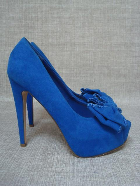 KURT GEIGER UK 6 blueE FAUX SUEDE PEEP TOE HIDDEN PLATFORM SHOES