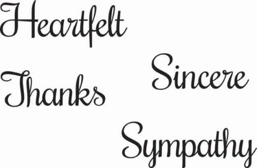 WOODWARE Clear JUST WORDS Single Stamps HEARTFELT THANKS SINCERE SYMPATHY JWS085