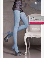 Fiore Davina Microfiber Designer 3d 60 Denier Pantyhose Tights 3 Sizes Black