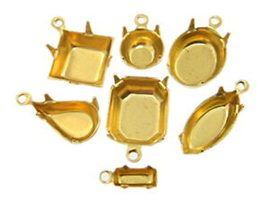 High-Quality-Brass-One-Ring-Settings-36-Pieces-Choose-Size-Shape