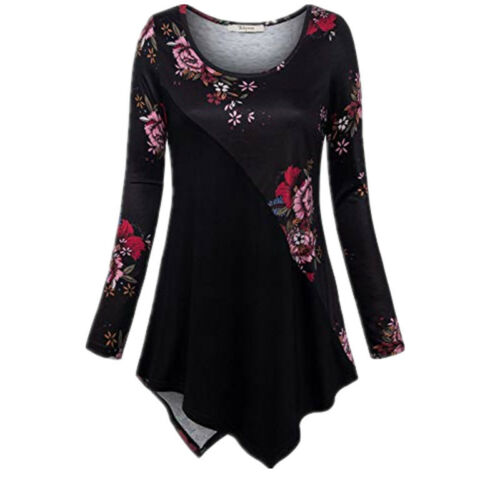 Women/'s Long Sleeve Boho Floral Print Crew Neck Tunic Top Blouse Casual T Shirt