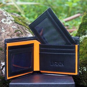 LARIKIN-034-Golden-Rule-034-Mens-2-in-1-GENUINE-LEATHER-Wallet-Black-w-Orange-Gift-Box