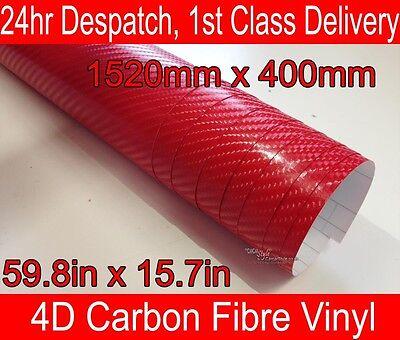 4D Carbon Fibre Vinyl Wrap Film Sheet RED 400mm(15.7in) x 1520mm(59.8in)