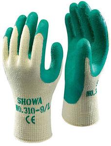 10 Pairs of SHOWA 310 Grip Gloves - Latex Palm Coating GREEN Gardening DIY