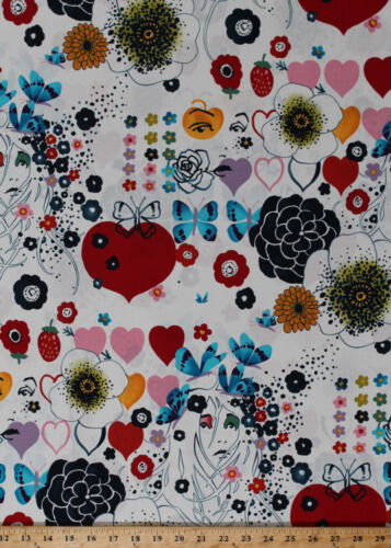 Flowers Child Sixties 60/'s Floral Butterflies Cotton Fabric Print BTY D576.25