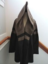 EUC VINCE CHARCOAL GREY BEIGE WOOL BLEND HOODED CAR COAT SWEATER JACKET L