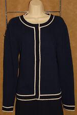 CHANEL 02C - Navy Blue - 100% Pure CASHMERE Cardigan Sweater sz L 48 *Luxurious!