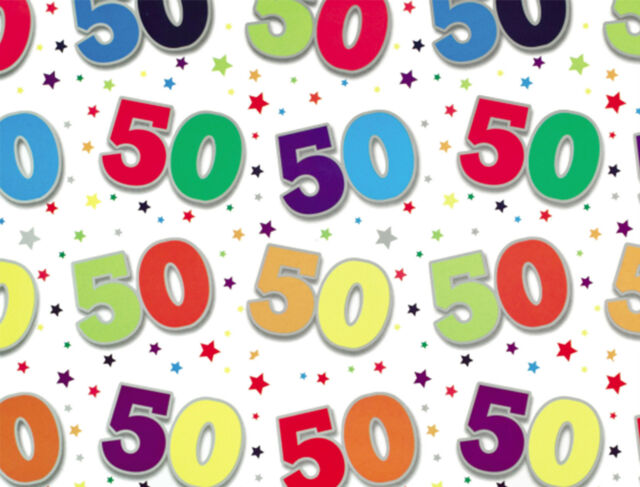 1 Sheet 50th Birthday Gift Wrap Wrapping Paper Age 50 Present