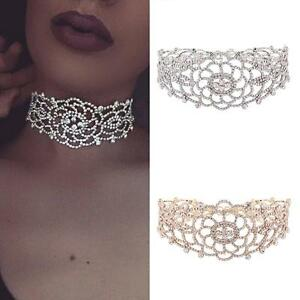 Charm-Pendant-Necklace-Crystal-Rhinestone-Choker-Collar-Women-Wedding-Jewelry