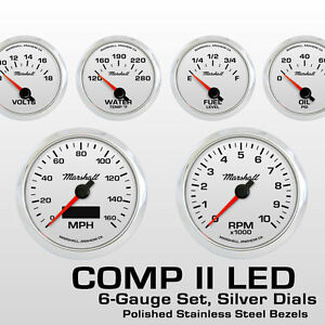 C2-6-Gauge-Set-Silver-Dials-Stainless-Bezels-73-10-Ohm-Fuel-Level-2468SS