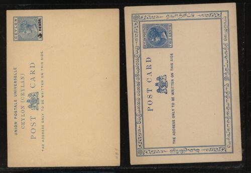 Ceylon 2 postal cards unused one revalued MS1012