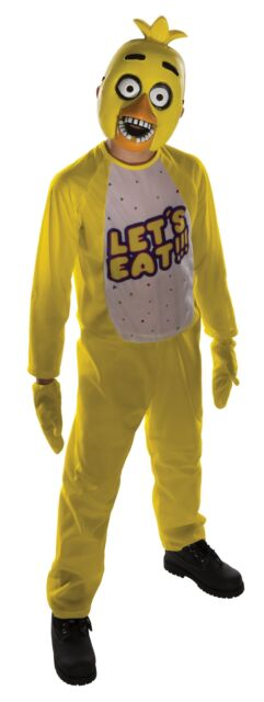 Chica Child Five Nights At Freddy's Costume Jumpsuit, Mitts and Mask FNAF Horror