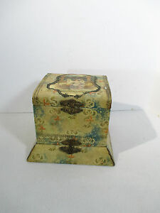 Antique Shirt Collar Box Decoupage Victorian Baroque Blue Satin 2 Section Floral