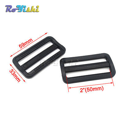 Plastic Black Curve Tri-Glide Slider Adjustable Buckle for Bags Webbing