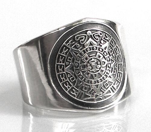 925 ECHT silver  Maya Ring Azteken Aztekenkalender, Gr. 50, 53