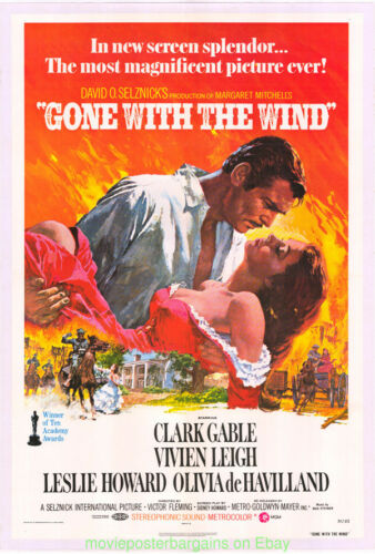 GONE WITH THE WIND MOVIE POSTER R1974 Folded Near Mint ONE SHEET CLARK GABLE