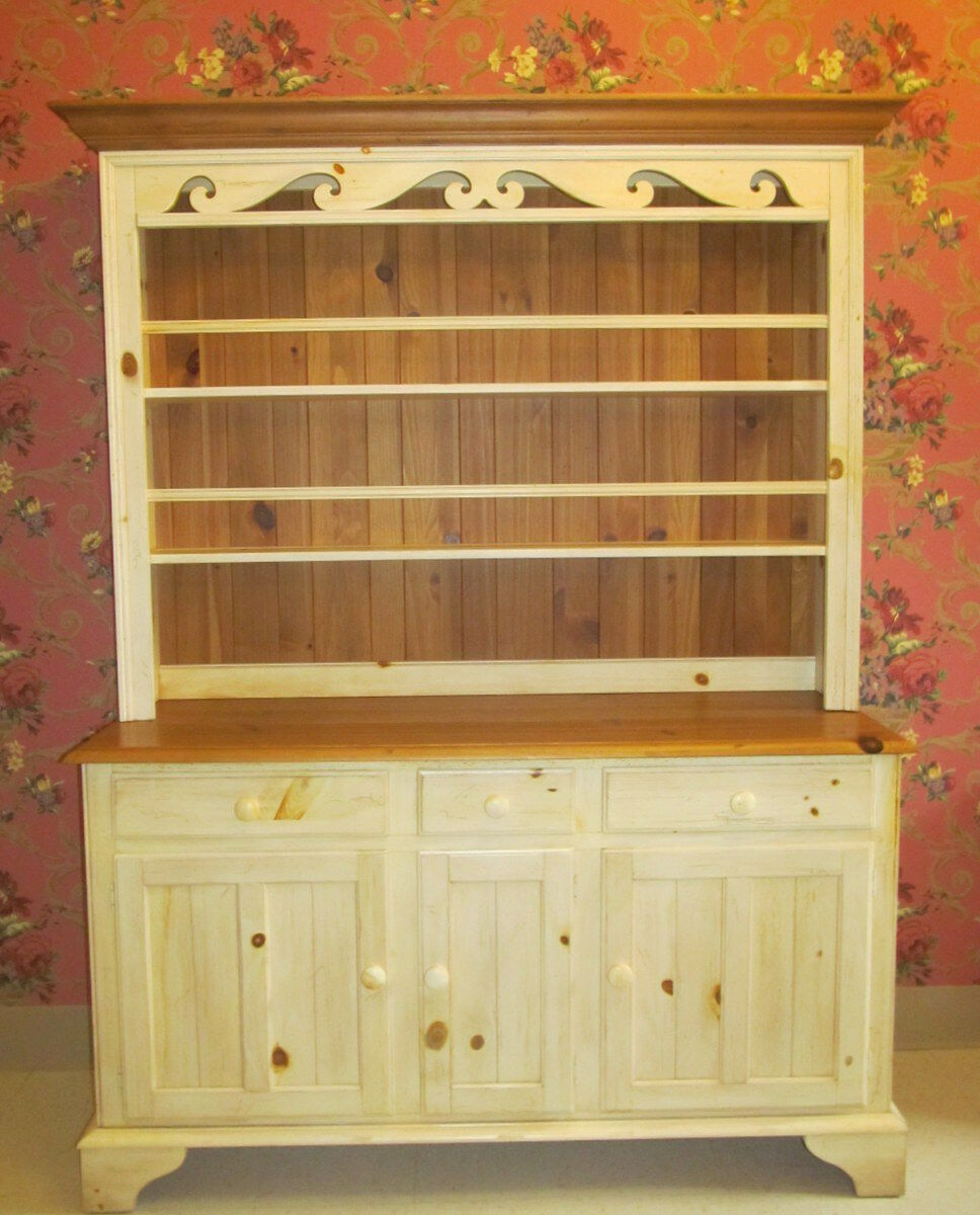 Ethan Allen Farmhouse Pine Open China Hutch Cabinet 23 6207 Made In USA