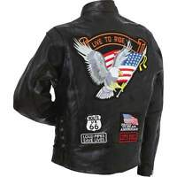 Mens Genuine Buffalo Patchwork Leather Motorcycle Jacket w Eagle Patch