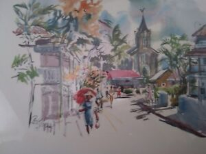 vintage-1960-039-s-1970-039-s-beautiful-small-town-water-color-framed-art-print-signed