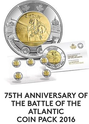 2016 Canada 75th Anniversary Battle Of The Atlantic $2 Dollar Toonie 5-Coin Pack