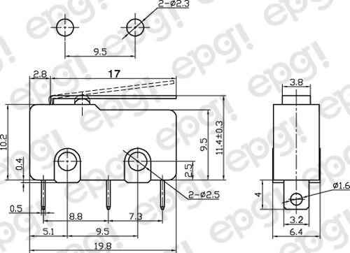 """125V #MSW12G-10PK NORMALLY OPEN//NORMALLY CLOSED /""""FLAT LEVER/"""" MICRO SWITCH 10A"""