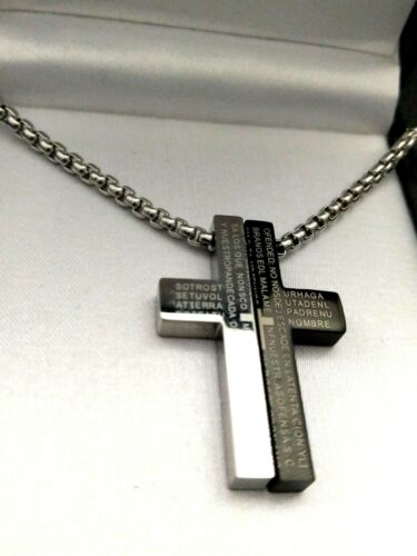 Para Hombre Elegante Negro//Plata Acero Inoxidable 2 piezas Oración Cruz Collar Regalo