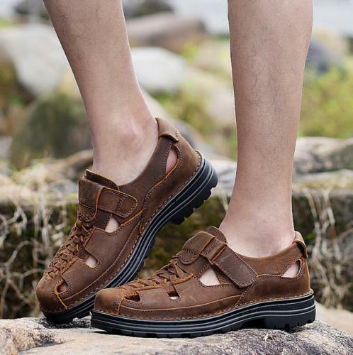 Mens Leather Woven Fisherman Closed Toe Sport Sandals Beach Casual Platfrom shoes