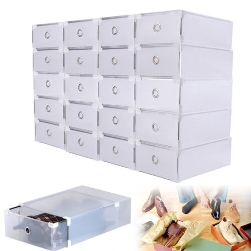 20pcs Clear Plastic Shoe Storage Box Stackable Foldable Boxes Trainers HOT NEW