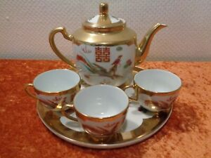5-PC-Set-Ceramics-Tea-Pot-Cups-Serving-Tray-China-Dragon-Bird