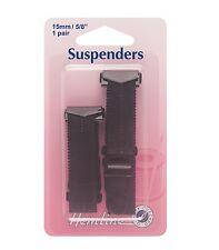 HEMLINE Haberdashery BLACK SUSPENDERS - (1 Pair) - 15mm - Hook Open Ends -H775.B