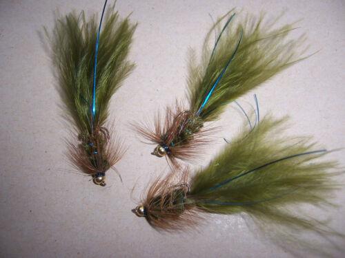 3 Goldhead Olive Woollybugger Damsel size 16 blue flash by Salmoflies
