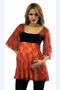 Orange-Maternity-Top-Blouse-Batwing-Tunic-3-4-Long-Sleeve-Casual-Doman-S-M-L-XL