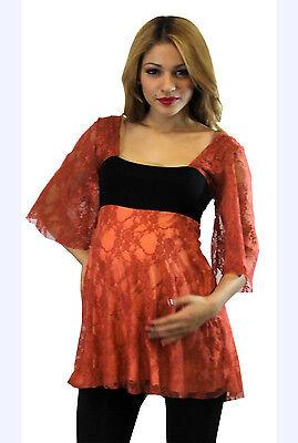 Orange Maternity Top Blouse Batwing Tunic 3/4 Long Sleeve Casual Doman S M L XL